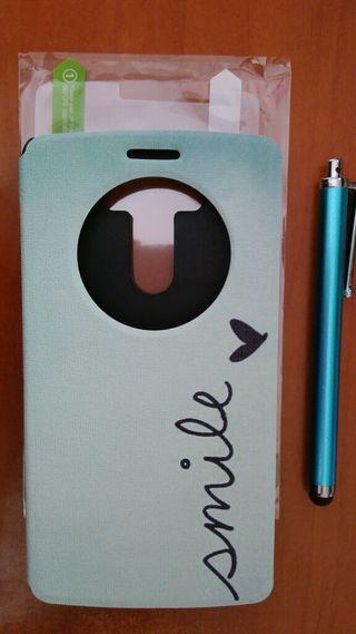 Funda móvil, lápiz óptico y protector de pantalla.