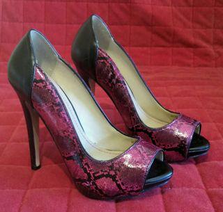 Zapato tacon rosa y negro talla 36
