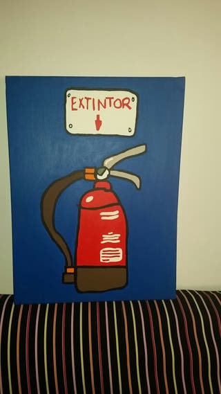 Lienzo pintado a mano, divertido dibujo extintor