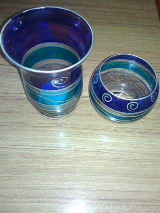 2 Porta velas cristal tonos azul turquesa.