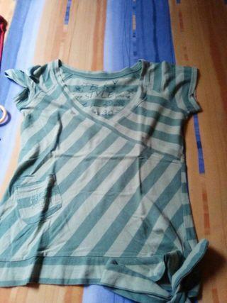 Camiseta rayas transversales manga corta