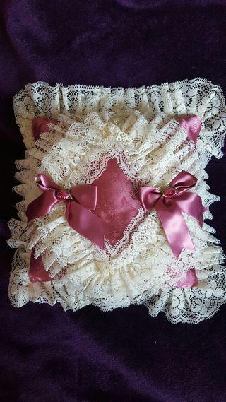 Brand New Hand Made Dusky Rose/Cream Lace Cushion
