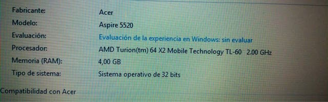 Portatil Acer Aspire 5520