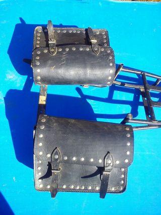 Carteras para moto de cuero artesanal con soporte