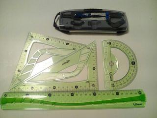 Compas con accesorios y set reglas