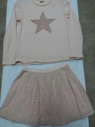 Conjunto minifalda ycamisetaT10-12