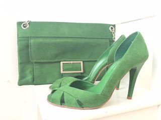 Conjunto bolso y zapatos verde
