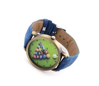 Reloj de pulsera correa vaquera motivos billar