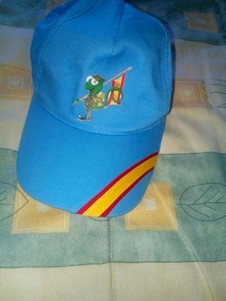 Gorra con bandera de España, y tortuga vestida de