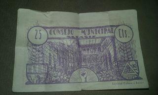 Billete del Consejo municipal de alcañiz
