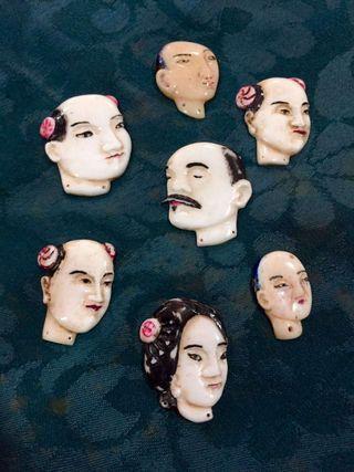 Caras de marfil para mantón de Manila de chinos