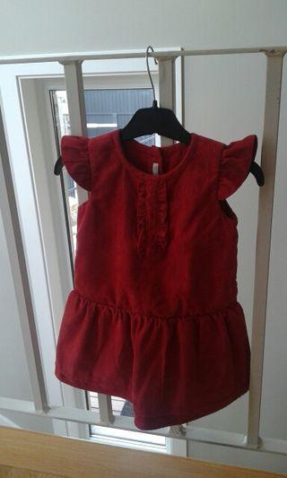 Vestido bebé pana rojo. Marca BENETTON BABY. Talla 9-12 meses.