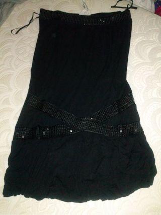 Vestido negro lentejuelas Zara M