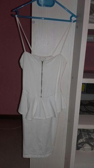 Vestido de fiesta Blanco ajustado Bershka