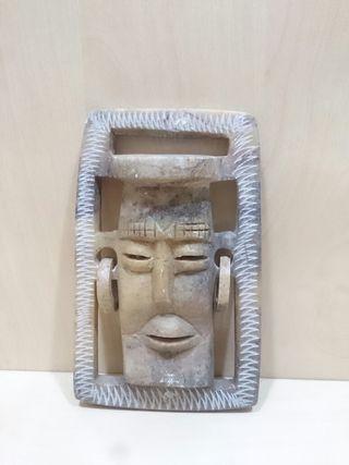 Vintage Figura Moai Tallada en Piedra Artesanal