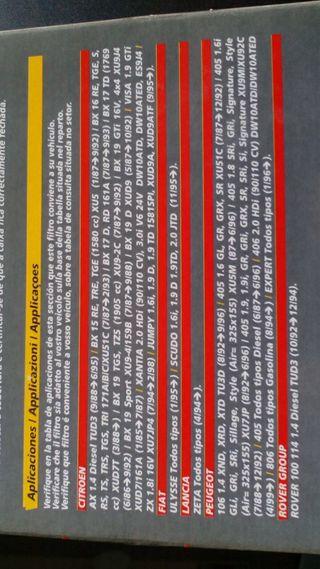 Filtro aire citroen Fiat lancia Peugeot y Rober