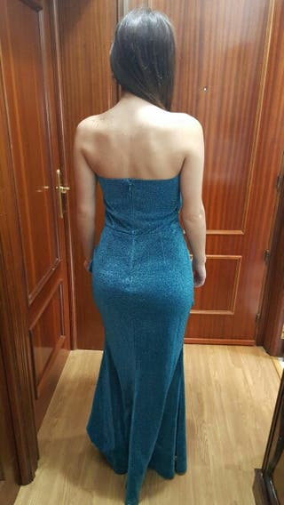 Vestido de fiesta azul turquesa talla S