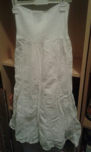 Falda larga blanca de segunda mano en WALLAPOP dd60c7e1a61