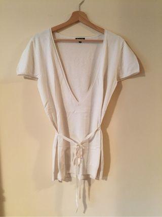 Jersey de punto y manga corta Color beige. Talla XL