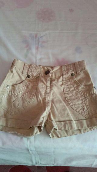 Pantalón corto beig tipo lino t- 4-5