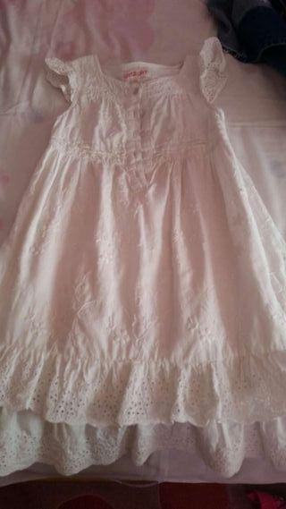 Vestido blanco 3-5 brocado en la misma tela