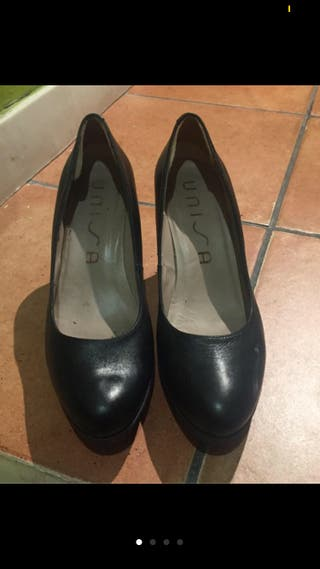 Zapatos unisa piel negros 38