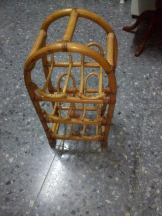 Botellero para seis botellas de bambú