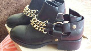 Botín negro piel Zara talla 38