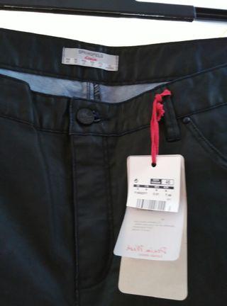 Pantalón Springfield negro imitación piel negro 46
