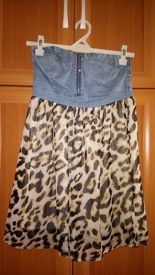Vestido top vaquero y leopardo.