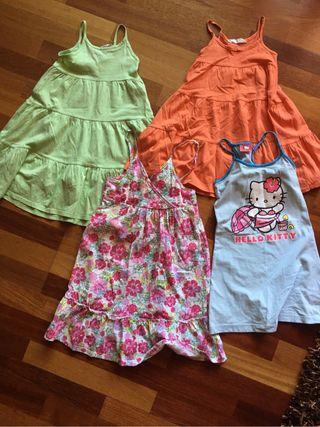 Lote cuatro vestidos niña de 6 a 8 años.