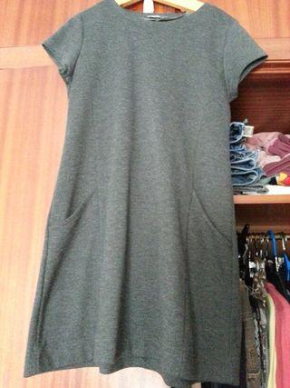 Vestido gris marengo con bolsillos