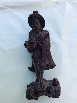 Figura China Pescador Con Red Madera