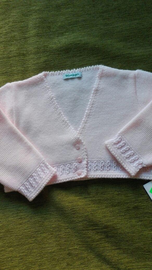 Chaqueta punto blanca y rosa niña 36 meses