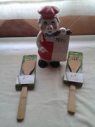Cerdito con menú de cerámica NUEVO A ESTRENAR.