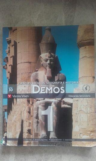 """Libro""""Ciencias sociales, geografia e historia nuevo demos 1"""""""