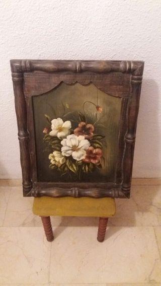 Cuadro madera motivos florales