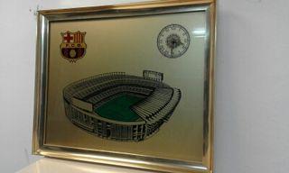 antiguo Cuadro con reloj Fc Barcelona