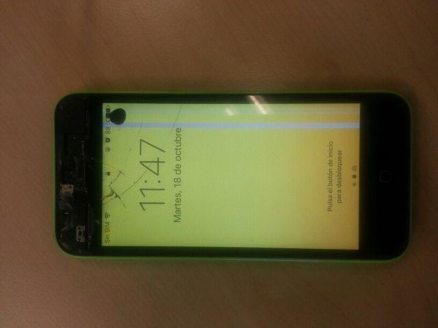 Iphone 5c pantalla rota verde 32gb libre