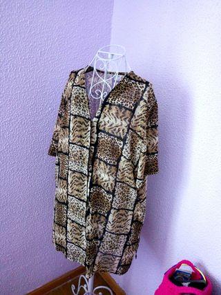 Camisa blusa mujer años 80 estampado africano