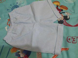 Pantalón azul bebé vichy talla 18