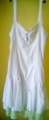 Vestido blanco y verde. Talla 38/40