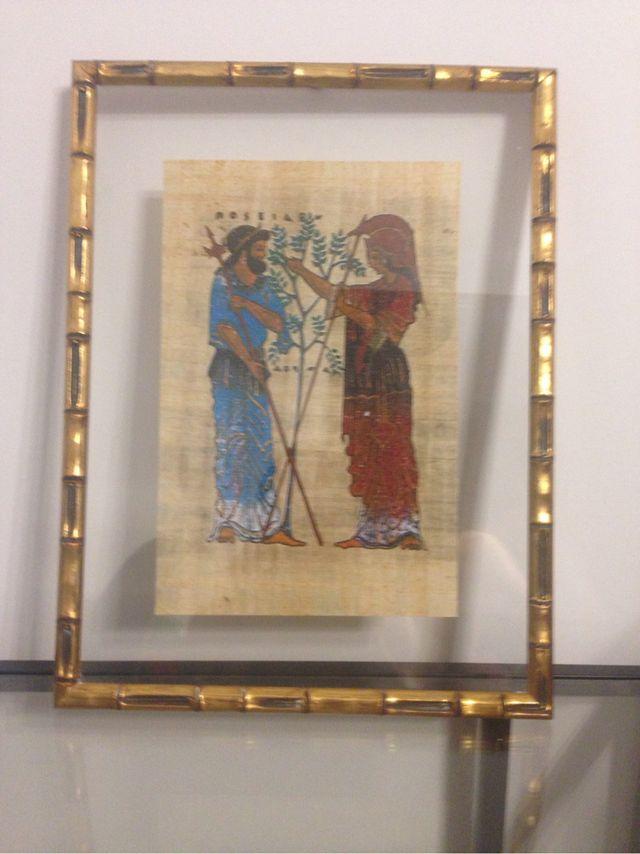 Cuadros marco dorado bambú con papiros de segunda mano por 65 € en ...