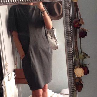 Vestido oversize gris marengo