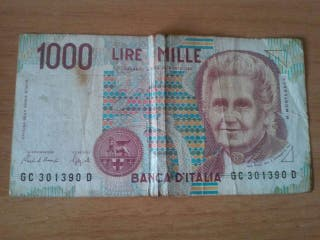 Billete de 1000 liras.