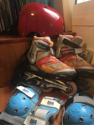Patines para niños/as + casco + protección Codos,
