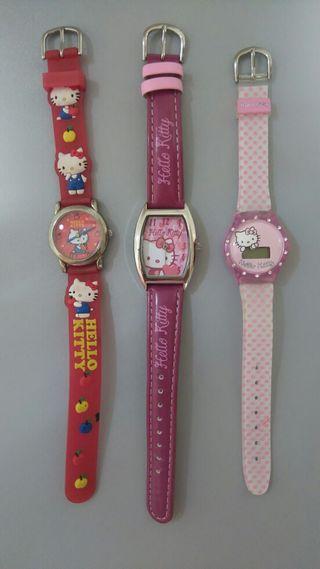 3 relojes de Hello Kitty