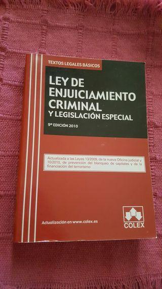 Ley de enjuiciamiento criminal y legislación especial