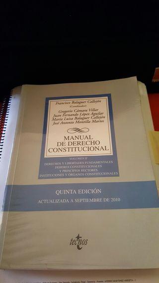 Manual derecho constitucional Tecnos. Volumen II, quinta edición. Francisco Balaguer Callejón