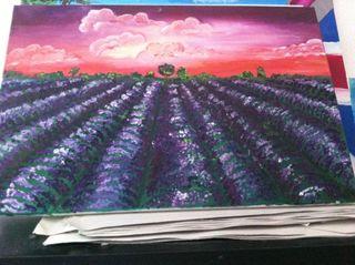 Cuadro De Violetas Al Oleo